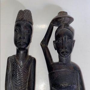 Vintage African Hand-carved Man Drumming & Woman